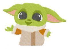 Yoda kid embroidery design