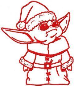 Yoda Santa Claus embroidery design