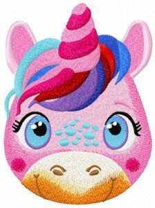 Young unicorn embroidery design