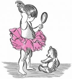 Young ballerina looks in the mirror embroidery design