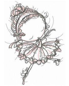 Young ballerina embroidery design