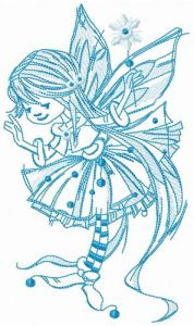 Young fairy blue gamma embroidery design
