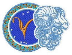 Zodiac sign Aries 2 embroidery design