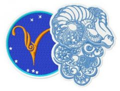 Zodiac sign Aries 3 embroidery design