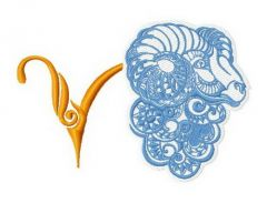 Zodiac sign Aries 4 embroidery design