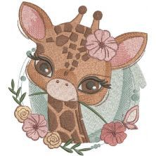 Childhood Giraffe embroidery design