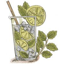 Margarita cocktail glass embroidery design