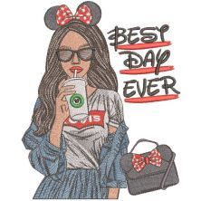 Modern girl mickey style embroidery design