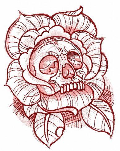 Dead rose embroidery design