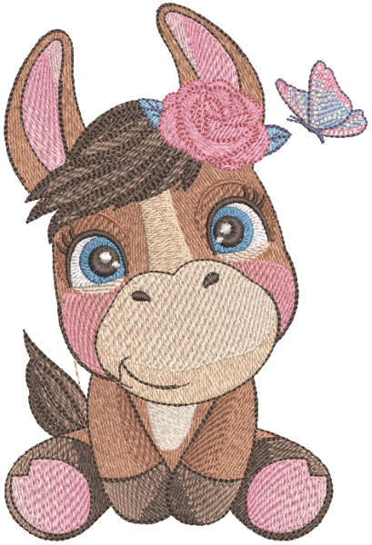 Donkey with butterfly embroidery design