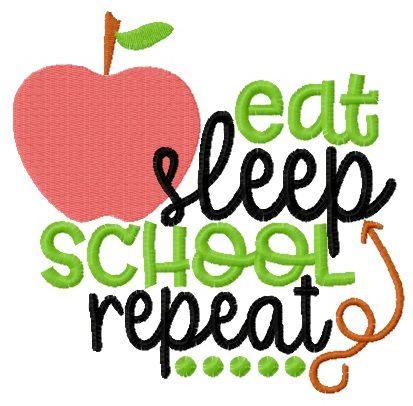 Eat, sleep, school repeat embroidery design
