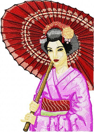 Geisha with Umbrella 3 embroidery design