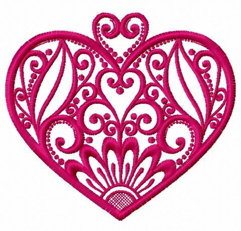 Fancy heart embroidery design 7