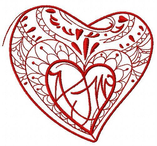 Fancy heart embroidery design 3