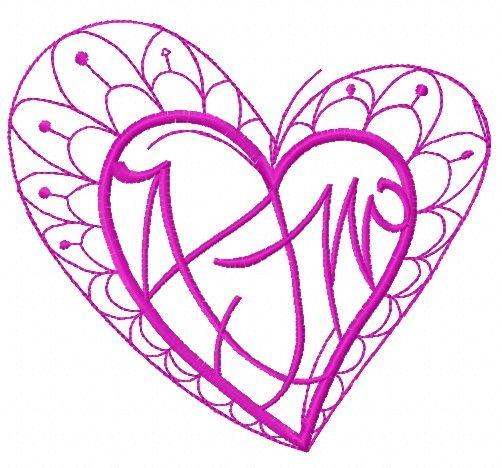 Fancy heart embroidery design 5