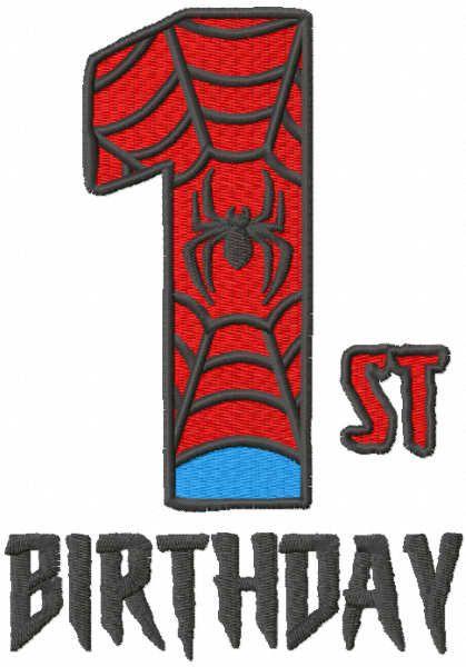 First spiderman birthday embroidery design