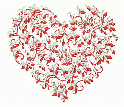 Floral heart embroidery design 2