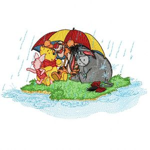 Winnie Pooh and friends under a rain embroidery design