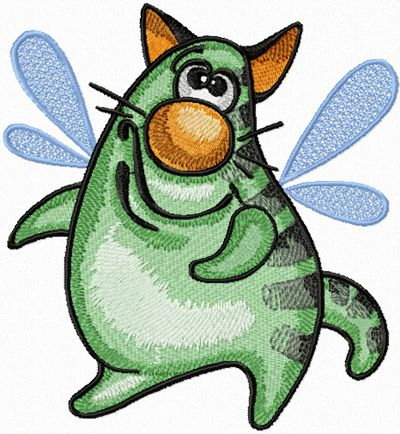 Funny Cat - I Want to Fly! free machine embroidery design