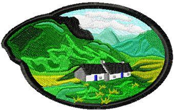 Georgian landscape free machine embroidery design