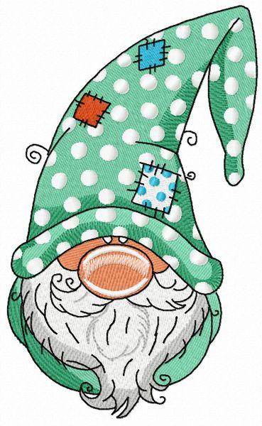 Gnome in polka dot phrygian cap embroidery design
