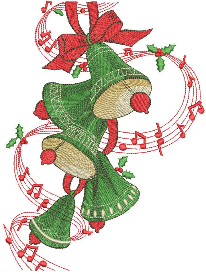 Green Christmas bells embroidery design