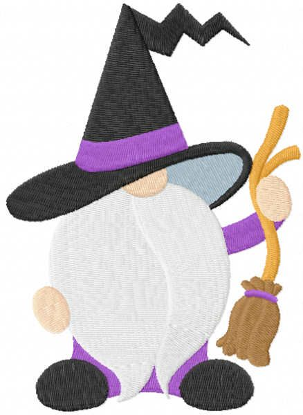 Halloween gnome with broom embroidery design