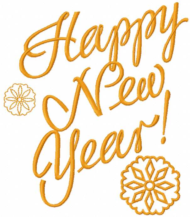 Happy New Year free embroidery design