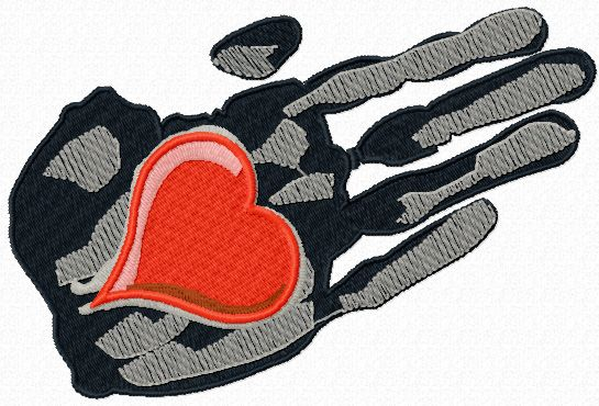 Heart in the palm of your hand free machine embroidery design