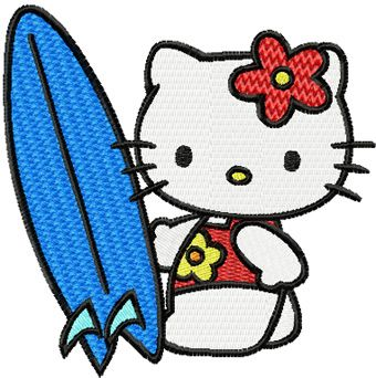 Hello Kitty Surfer embroidery design