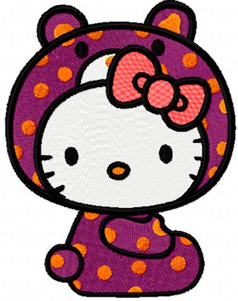 Hello Kitty Bear Costume embroidery design
