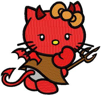 Hello Kitty Devil embroidery design
