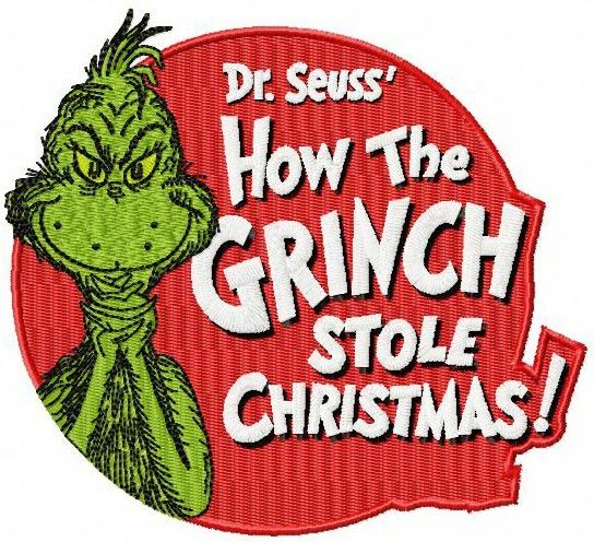 How the Grinch stole Christmas badge machine embroidery design