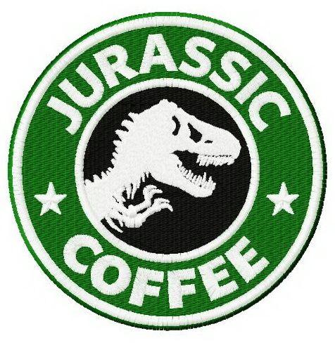 Jurassic coffee machine embroidery design