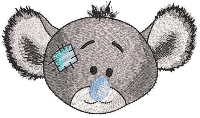 Koala grey muzzle embroidery design