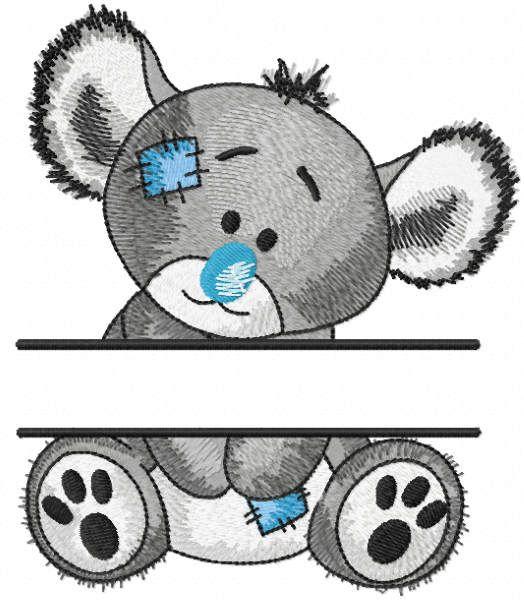 Koala split embroidery design