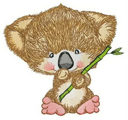 Koala with bamboo embroidery design
