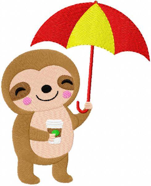 Koala with coffee and umbrella embroidery design