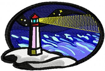 Lighthouse free machine embroidery design