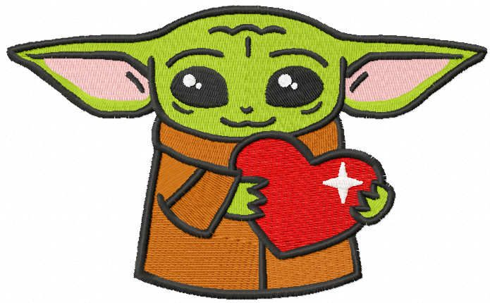 Loving baby yoda with heart embroidery design