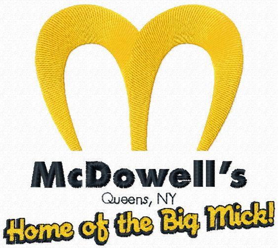 McDowells logo machine embroidery design