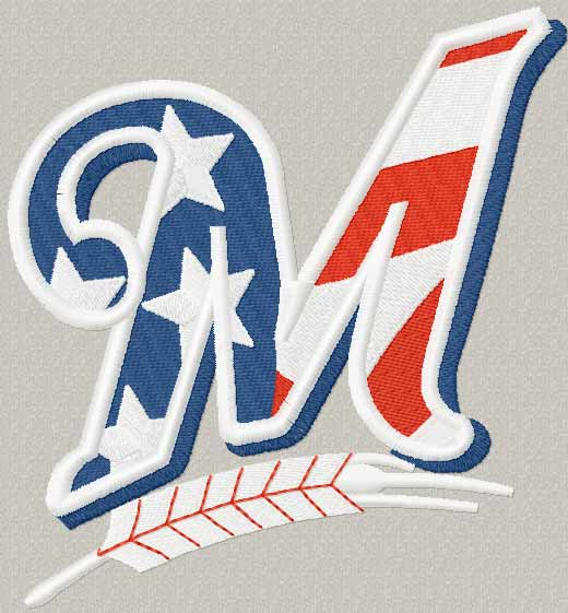 Milwaukee Brewers Flag Logo machine embroidery design