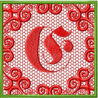 Monogram letter E style 1 machine embroidery design