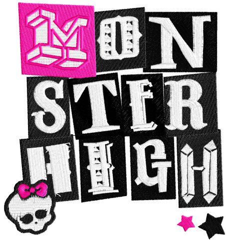Monster High wordmark logo embroidery design