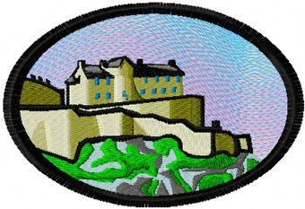 Mountain landscape free machine embroidery design