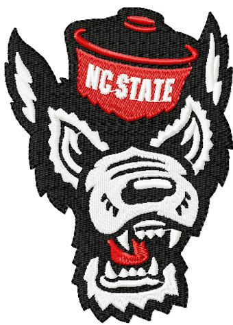 North Carolina State Angry wolf embroidery design
