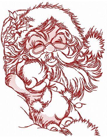 Old kind Santa embroidery design 2