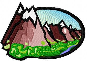 Old mountain free machine embroidery design