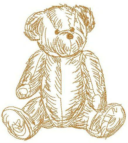 Old bear toy embroidery design 2