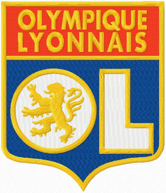 Olympique Lyonnais football club logo embroidery design